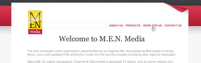 MEN Media Corporate Web Site Thumbnail